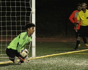 Druid Hills freshman goalie Ruben Angeles blocks one of two of his saves in the penalty kick session of Druid Hills' Class 4A playoff win.