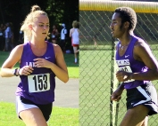 Lakeside's Emma Hanson (left) and Mikias Mekonen (right) both set DeKalb County best times for the season in wins at Druid Hills Middle School this week. (Photos by Mark Brock)