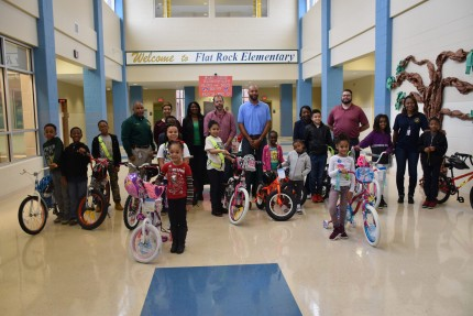 Flat Rock Elementary Donates Bikes for Literacy Campaign