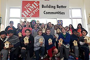 Peachtree Charter Middle Students Build Birdhouses.