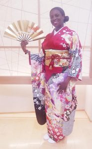 Ms. Brooks poses in traditional Japanese clothing