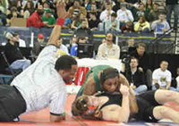 Clarkston's Terrance Gaddy (green) pins Lafayette's Will Gilbert for Class AAA gold medal.