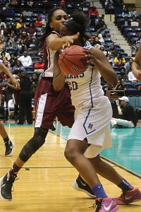 Tucker's Quinlan Hughes defends against McEachern during the Class 6A girls' state championship game. (Photo by Mark Brock)
