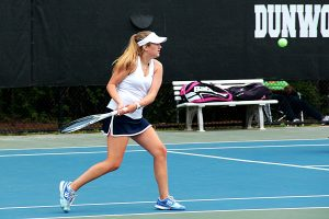 Dunwoody's Gracie Ackaway has the southpaw backhand return in her No. 2 doubles victory with teammate Ashton Harbin. (Photo by Mark Brock)