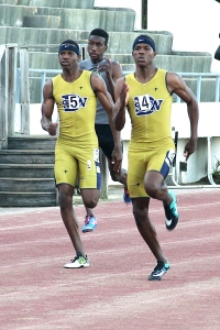 Southwest DeKalb's Terry and Terryon Conwell combined for 3 individual gold medals and 2 relay gold to lead the Southwest DeKalb Panthers to the Region 6-5A title. (Photo by Mark Brock)