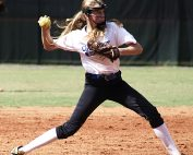 Chamblee's Rachel Lovejoy makes a throw from short against Lithia Springs.
