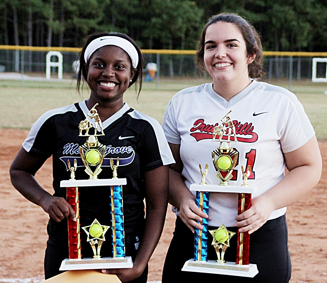 The 2018 DCSD Senior Softball All-Star Classic MVPs are Deyonce Lewis-Anderson of Miller Grove (left) and Audrey Kerba of Druid Hills.