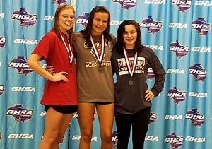Dunwoody's Lauren Davis (far right) grabbed the silver medal in the All Classification One Meter Diving at the GHSA Swimming and Diving Championships. (Photo courtesy of the GHSA)