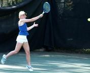 Chamblee's No. 2 singles player Grace Pietkiewicz returns a shot during her 6-0, 6-0 win against Decatur.