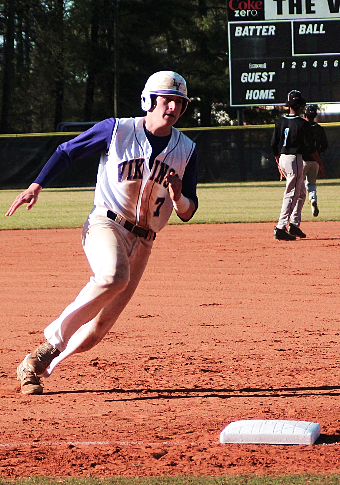 Lakeside's Charlie Ludwick rounds third base on the way to score the first of his three runs against Stephenson.