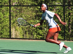 Tucker's Autumn Clemons is on the move during her No. 1 singles win against Evans. (Photo by Mark Brock)