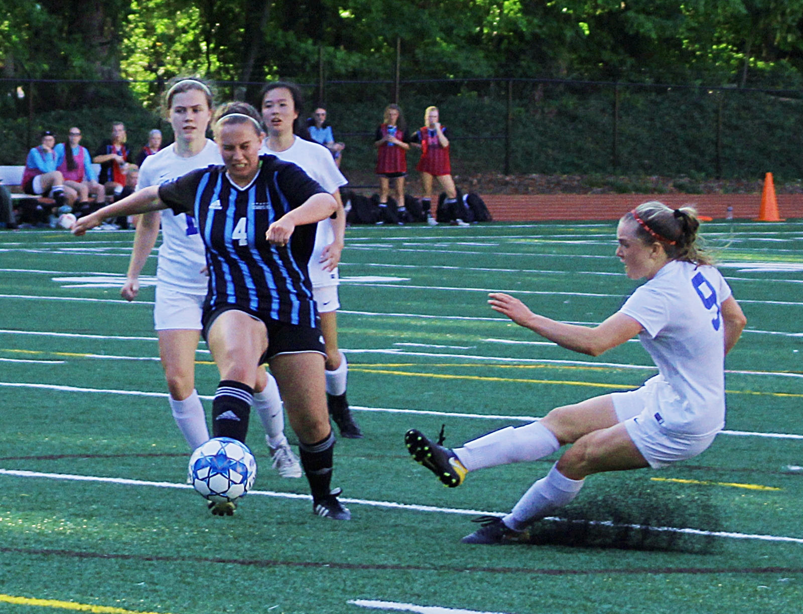 Chamblee's Teagan Furbish kicks in the go-ahead goal durig first half action against Starr's Mill.