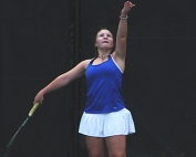 Chamblee senior doubles player Olena Bilukha serves during 2018 playoff action.