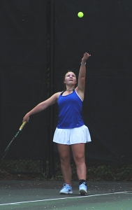 Chamblee senior doubles player Olena Bilukha serves during 2018 playoff action. (Photo by Mark Brock)