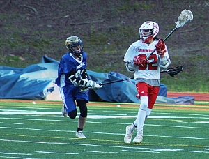 Dunwoody's Bobby Bennett (32) and the Wildcats' lacrosse team is set to host North Paulding in DeKalb Schools' first ever home playoff game at North DeKalb Stadium. (Photo by Mark Brock)