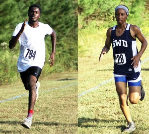 Cedar Grove's Mikaiel Jack (left) and Southwest DeKalb's Lanee Edwards took individual wins in the first race at Arabia Mountain to end the DCSD regular season. (Photos by Mark Brock)