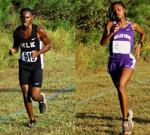 Martin Luther King Jr.'s Demetrius Carson (left) and Miller Grove's Emoni Coleman (right) won individual honors in the second race at Arabia Mountain to wrap up DCSD's regular season meets. (Photos by Mark Brock)