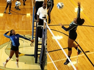 Chamblee's Jade Watson (2, at left) and Arabia Mountain's Ashlynn Carthan (right) had some big plays at net for their teams in the championship match. (Photos by Mark Brock)