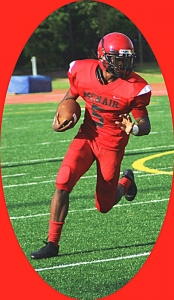 McNair's Andre Harris scored three touchdowns in the Mustangs' loss to B.E.S.T. Academy. (Photo by Mark Brock)
