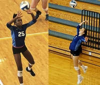 Juniors Jade Watson (25) and Becca Evans (7) were named to the GACA Junior Volleyball All-Star game this week as they lead the Lady Bulldogs against the No. 1 McIntosh Lady Chiefs on Saturday at 11:00 am. (Photos by Mark Brock)