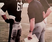 Former Redan Coach Bill Cloer (center) talks with linebacker Andy Gower and defensive coordinator Tom Clark during their 11-1-1 Region 7-4A championship season. (Photo courtesy of a former Redan player)