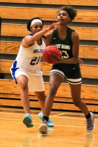 Chamblees' Samantha Hood (21) tries to block Arabia Mountain's Kennedi Manning's (23) shot. (Photo by Mark Brock)