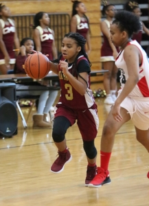 Champion's Jayla Thomas (3) drives to the basket in the Lady Chargers Region 2 win over Stone Mountain. (Photo by Travis Hudgons, iShootAtlanta Photography)