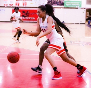 Druid Hills' Indira Kissoonlal drives the baseline against Salem. (Photo by Mark Brock)