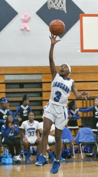 Stephenson Middle's Jasmian Merrick (3) goes up for a shot in the Lady Jaguars 37-17 win over the Miller Grove Lady Wolverines in the first round of the DCSD Middle School Basketball Championships on Wednesday. (Photo courtesy of Bruce James/Unforgettable Moments)
