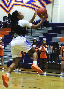 India Terrell going in for a layup during the regular season. Terrell and her Columbia Lady Eagle teammates host a second round Class 5A girls' game against Cass on Wednesday at 5:30 pm. (Photo by Mark Brock)