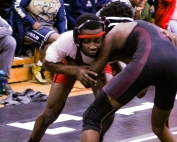 Stone Mountain's DeeJay McNeal (left) is undefeated heading into the Class 3A State Wrestling Tournament. He and teammate Antonio Mills are the only two undefeated out of the DeKalb contingent. (Photo by Mark Brock)