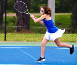 Chamblee's Allison Lvovich and No. 2 doubles teammate Samantha McCrery won one of four points for the Lady Bulldogs in their win over McIntosh for a spot in the Class 5A Final Four. (Photo by Mark Brock)