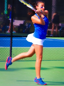 Chamblee's Neena Katauskas battled back from a 2-0 second set deficit to close our the No. 1 singles point 6-2, 6-3 over Carrollton's Sonya Ivashchenko. (Photo by Mark Brock)
