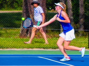 Chamblee's Samantha McCrery teamed up with Allison Lvovich for a 6-2, 6-1 win over Carrollton's Madison Webb and Maddie Rogers to get the Lady Bulldogs on the board first. (Photo by Mark Brock)