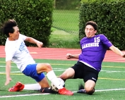 Lakeside's Jerod Spetseris (15) gets a shot attempt spoiled by a Peachtree Ridge defender. He would later score the winning goal. (Photo by Mark Brock)