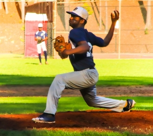 Southwest DeKalb's Chauncey Adams allowed just four hits over five innings to helpd lead the Panthers to a big 15-3 Region 5-5A win over the Lithonia Bulldogs. (Photo by Mark Brock)