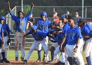 Stephenson celebrates Joseph Jackson's two-run homer in Game 2 win over Lee County in the Class 6A state playoffs