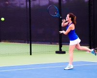Sophomore Lila David gave Chamblee an early 1-0 lead against Kell with her win at No. 3 singles. (Photo by Mark Brock)