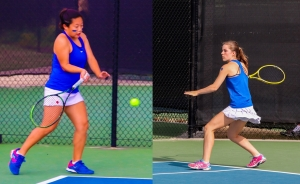 Chamblee's Madison Trinh (left) and Madeline Meer teamed up to clinch Chamblee's third consecutive state title with a win a No. 1 doubles. (Photos by Mark Brock)