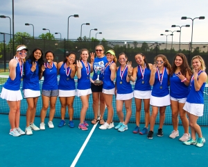 Three-peat!! Chamblee Lady Bulldogs tennis team made it three in a row at the Class 5A girls' tennis champoinships with a 3-0 win over Kell at the Rome Tennis Center at Berry College on Saturday. (Photo by Mark Brock)