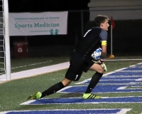Lakeside's Andrew Seybolt with one of his eight saves against Lambert. (Photo by Mark Brock)