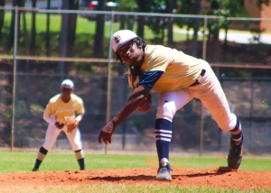 Southwest DeKalb'ss Juston Jordan pitches against Riverwood. (Photo by Mark Brock)