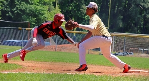 Southwest DeKalb first baseman Keion Neal (right) and his Panther teammates are vying to keep their postseason alive against No. 10 Riverwood on Thursday. (Photo by Mark Brock)