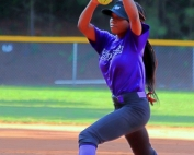 Miller Grove's Latiya Lee pitched a no-hitter and struck out 10 in four innings in a 14-2 season opening win over the Tucker Tigers. (Photo by Mark Brock)