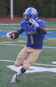 Chamblee receiver/defensive back Jeremiah Brown is one to watch for the Bulldogs as they take on Dunwoody in the Battle for the Golden Spike. (Photo by Mark Brock)