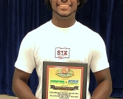 Cedar Grove defensive end Alvin Williams receives GHSFD Player of the Week Award.