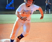 Chamblee's Savannah Russell rounds third and heads to home to score the Lady Bulldogs' lone run of a 5-1 loss in Game 2 vs. Woodland. (Photo by Mark Brock)