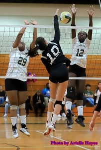 Clarkston's Kyla Mullins (29) and Sajourner Thompson (12) go up to block against Druid Hills' Aizja Rawls (10). Both teams are headed to the state playoffs on Saturday. (Photo by Arielle Hayes)