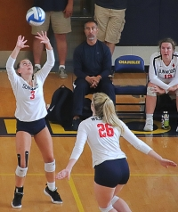 Dunwoody's Morgan Speice (3) and teammate Mary kate Kotzin work together at the net. The pair and their Dunwoody teammates are playing in the Class 6A Sweet 16 on Wednesday vs. Lakeside-Evans at 5:00 pm. (Photo by Mark Brock)