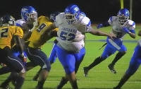 Stephenson offensive lineman Khoury Jones (52) helped the Jaguars rushing attack score five touchdowns in a 47-20 Class 6A first round playoff victory over Bradwell Institute. (Photo by Mark Brock)